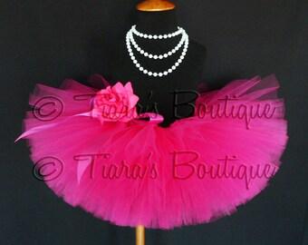 "Girls Tutu Skirt - Hot Pink Tutu - Birthday Tutu - Fabulous Fuchsia - Custom Sewn 8"" Tutu - sizes Newborn to 5T"