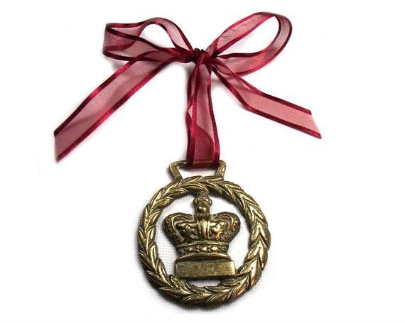 Vintage Crown Horse Brass Christmas Ornament on Red Ribbon