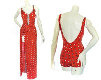 Vintage 1970's Gottex Red and White Polka Dot  1 Piece Swimsuit and Matching Sarong Size M with Built in Bra