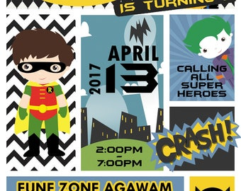 18 batman and robin  invitation tags label party birthday english or spanish