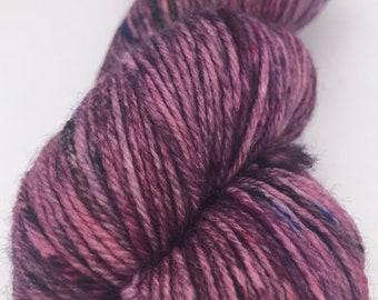 OOAK- Smashed Berries-Hand Dyed DK Weight Yarn-75/25 SW Merino/Nylon
