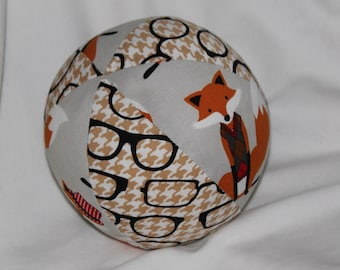Gray Fox and Eyeglasses Fabric Boutique Ball Rattle Toy