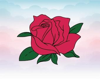 Rose svg - rose clipart - rose blossom clip art vector - Rose vector SVG - Heat transfer shirt vector flower rose - digital download svg