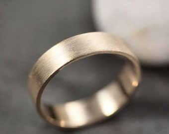Men's Gold Wedding Band, Unisex 5mm Wide Brushed Flat 14k Recycled Yellow Gold Wedding Ring Gold Ring -  Made in Your Size