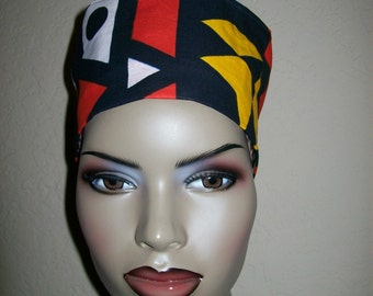 Geometric Pattern African Print Women's High top Kufi hat African hat/ Kufi African Hat/ African Hats and accessories
