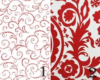 Wedding Table Runner, Valentine Table Runner, Red White Table Runner, Paisley Table Runner, Holiday Decor, Red Scroll Table Runner/Red White