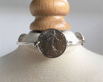 French Coin Wire Wrapped Bangle, Coin Wire Wrapped Bangle, Wire Bangle, Wire Wrap Bracelet, Wire Wrapped Bracelet