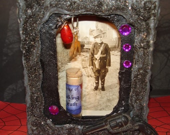 Sharpshooter Dennis on Halloween  Altered Box with lots o vintage goodies