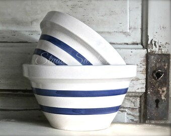 "Still Life Country Kitchen Art, Kitchen Print, Farmhouse Cottage Art, Rustic Decor, Bowl Print, Blue and White Stripe Art-""Old Mixing Bowls"""