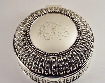 Custom Engraved Personalized Silver Plated Round Beaded Design Jewelry Trinket Box - Hand Engraved