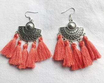 AGATHE coral ethnic earrings