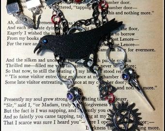 Collier gothique Raven la maintien de corvidés crânes Protection Anti Possession Triquetra celtique noir Goth argent Assemblage charmes