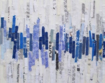 Mixed Media Acrylic collage painting, lines painting, abstract art, recycled paper art, blue lines