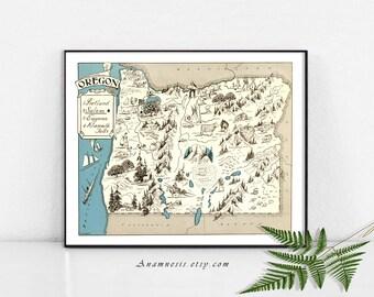 Carte imprimable de l'OREGON photo carte imprimer - Image de téléchargement instantané - pour l'encadrement, bijoux, emballages, vêtements, étiquettes, oreillers, pépinière, mariages