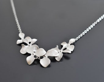 Beautiful six orchids silver necklace, Wedding jewelry, Bridal jewelry set, Flower necklace, Anniversary gift, Vintage,Necklace set