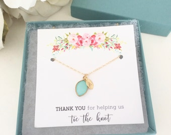 Tie the knot necklace / Personalized Necklace / Initial Necklace / Bridesmaid Necklace / Bridesmaid Gift / Gold Necklace / Flower Girl Gift