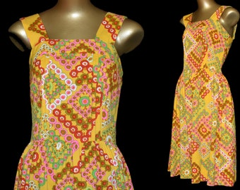 Mod Print Dress, 1960s Yellow Abstract Geometric Floral Print Sundress, Size XS, Extra Small