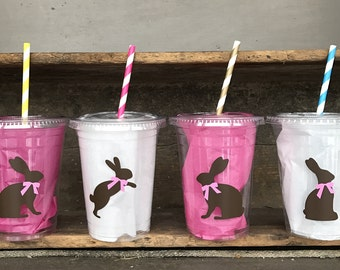 Bunny Party Cup, Birthday Party, Custom 16 oz. Clear Plastic Disposable Drink Cups with Tops & Straws, set of 8,10,12,15