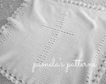 Crochet Angels Edging Around You Cross VI Blanket, PDF ePattern, 32 inches by 32 inches (81 cm by 81 cm)