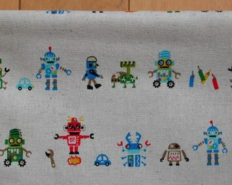 NEW - Robot On The Move - Japanese Linen and Cotton Blend Fabric - Half Yard