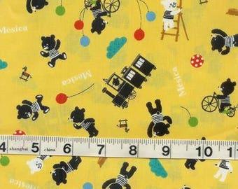 Teddy Bears Teddies on Yellow Japanese Kawaii Fabric FQ