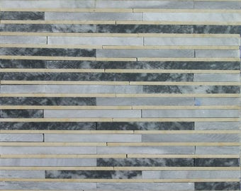 """Grey Lines Continuous Pattern Handfield Wallpaper 16""""x16"""" Marble Mosaic HF54"""