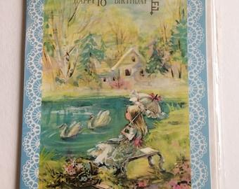 Vintage 18th Birthday Card, Cute Girl and Swans, Unused