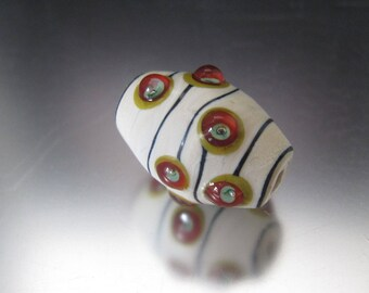 OOAK Glass Lampwork Barrel Bead - Partially Etched