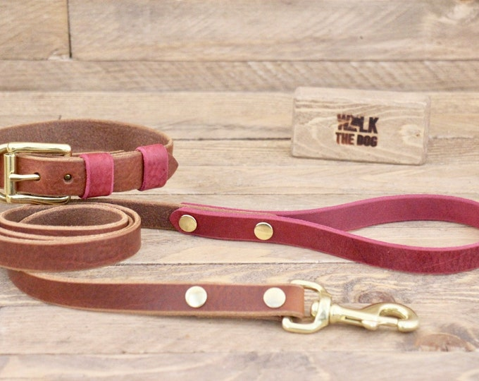 Dog collar, Dog leash, FREE ID TAG, Cowboy brown, Burgundy, Brass hardware, Handmade leather collar, Dog collar and leash.