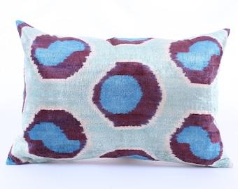 Ikat Velvet Pillow Cover, Uzbek Ikat, Purple Blue Pillow, Velvet Pillow, Decorative Throw Pillow Cover Accent Velvet Lumbar Pillow