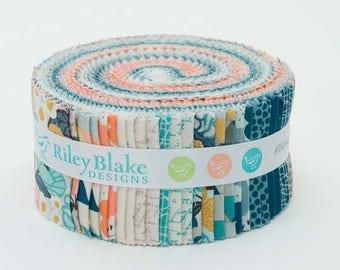 "Riley Blake - Ava Rose Rolie Polie/Jelly Roll by Deena Rutter - 40, 2.5"" x 42"" Fabric Precut Strips"