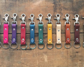 """Handmade Leather Key Fob/ Keyring ((( 3/4"""" trigger snap/ multiple colors ))) Hand Cut & Stained"""