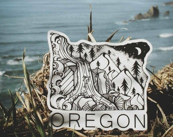 """Oregon State  4"""" Weatherproof and durable, Outdoor sticker, Travel sticker, Wanderlust, Mountains, Moon , Trees and stars sticker"""
