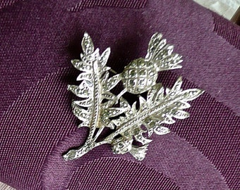 SALE - Vintage Brooch - Thistle Brooch - Woman's Silver Pin - Marcasite Jewelry - Scottish Pin - Kilt Pin- Sweater Pin -  Hipster - Souvenir