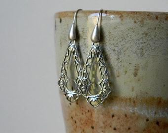 Filigree earrings long silver earrings handmade jewelry elegant earrings simple jewelry teardrop hoops tear drop