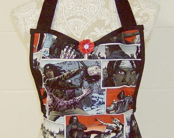 The Walking Dead / MICHONNE Fans Apron / Comic Strip print in grey, blue, red, purple, black, and white / Stunning Hostess Gift /  #B93