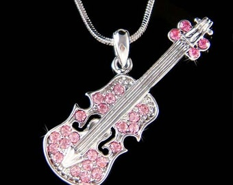 Swarovski Crystal Pink Violin Viola Cello Fiddle Musical Charm Pendant Necklace Christimas Best Friend Musican Gift  New