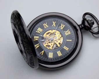 Premium Black Pocket Watch, Watch Chain, Mechanical Watch, Engravable, Men's Watch, Black and Gold Watch, Gift Boxed - Item MPW08g