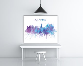 New York Skyline Art, New York Watercolor Skyline Poster, New York City Scape, NYC Wall Art, Cityscape Art Silhouette Painting Panoramic Art