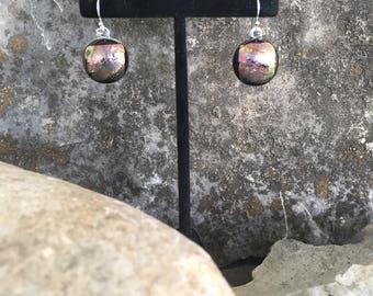 Dchroic fused glass earrings