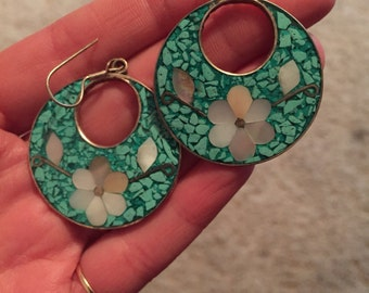 Turquoise and mother of pearl inlay earrings