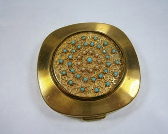 Gold Filigree Compact with Green Opaque Glass Beads, Vintage Powder Compact, Beaded Compact