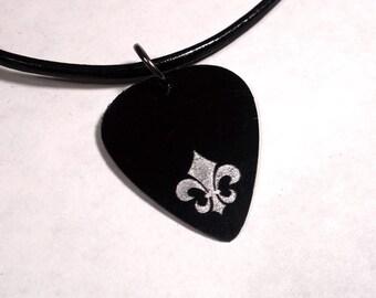 SALE - Engraved Fleur De Lis Plastic Guitar Pick Necklace or Pendant, black and silver
