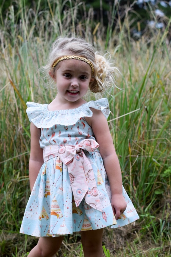 Girls Southwest Dress - Feather Print Dress - TeePee Dress - Off The Shouler Dress