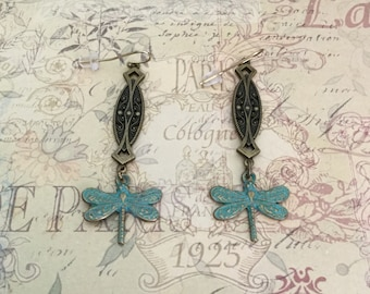 Dragonfly Earrings Brass Filigree Drop Earrings Dragonfly Jewelry Filigree Jewelry