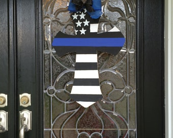 Thin Blue Line Cross wooden door hanger