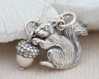 Squirrel Necklace, Sterling Silver Squirrel Charm, Squirrel with Acorn Necklace, Squirrel Jewelry, Cute Little Squirrel Necklace