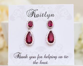 Bridesmaid Gifts | Ruby Earrings |  Bridesmaid Earrings | July Birthstone | Bridal Earrings | Dangle Earrings | Drop Earrings
