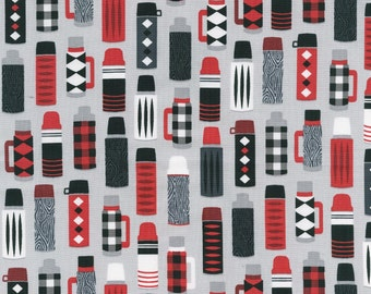 Burly Beaver Thermos in Steel by Andie Hanna for Robert Kaufman quilting cotton coffee fabric material by the yard or metre