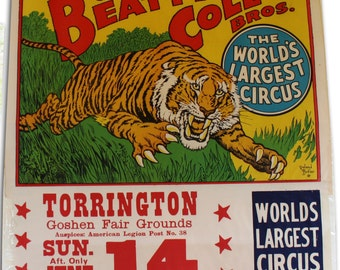 Roland Butler Leaping Tiger Poster for Beatty Cole Bros. Circus